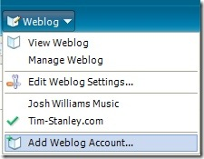 WLW Add Weblog Account
